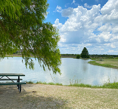 Lake Kyle Photo with Picnic Bench