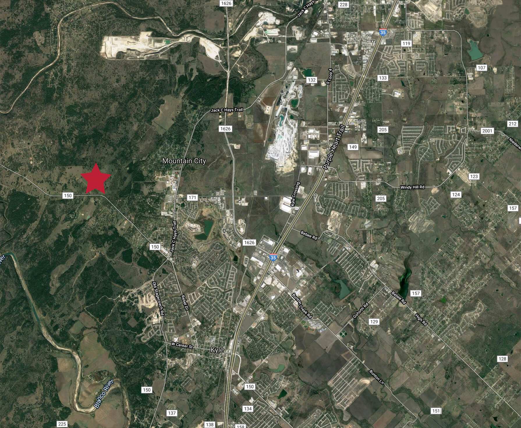 Location Map Image of Kyle, Texas